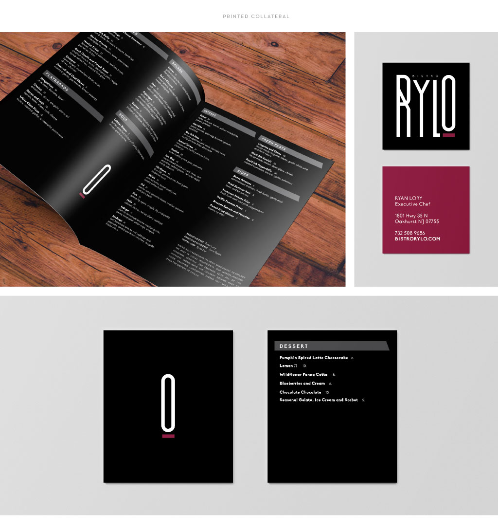 Bistro Rylo menu and business card design by M studio