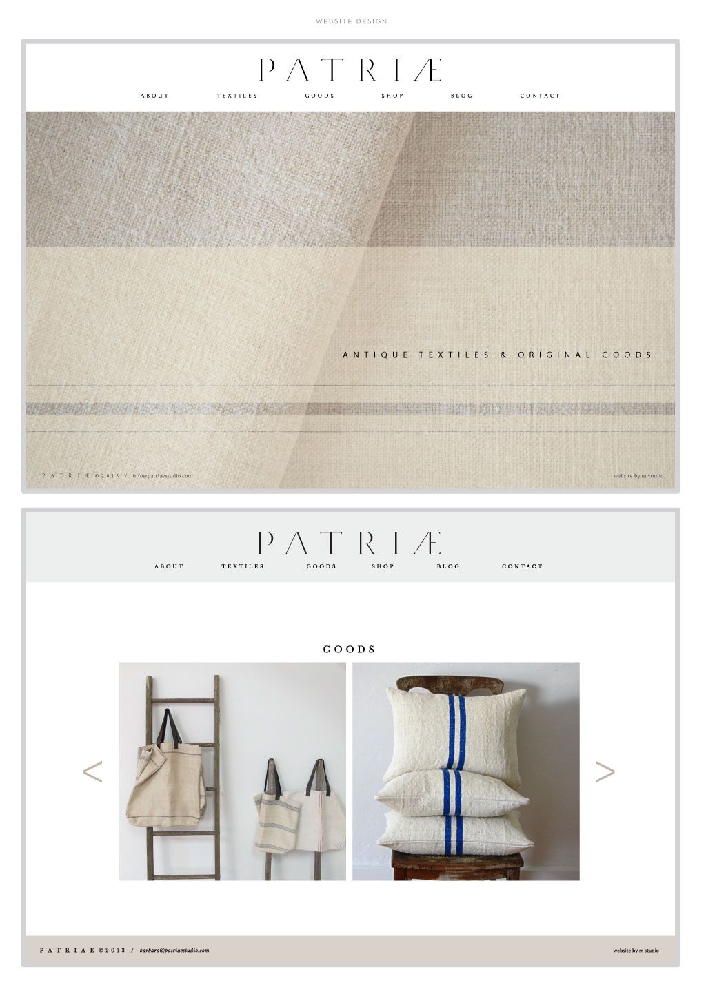 Patriae web design by M studio