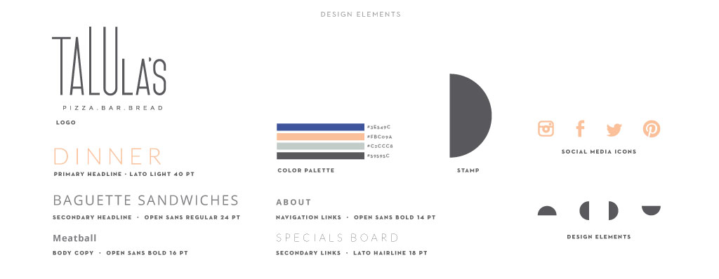 Talula's graphic design by M studio