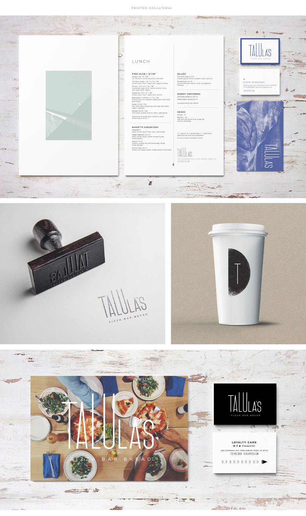 Talula's menu print collateral design by M studio