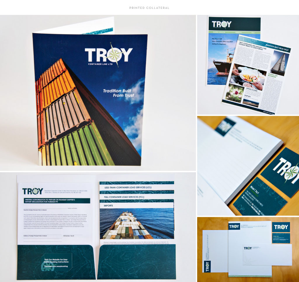 Troy Container Line print collateral design by M studio