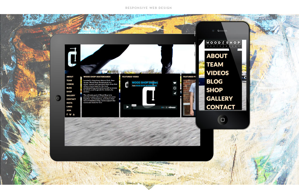 Wood Shop Skateboards responsive web design by M studio