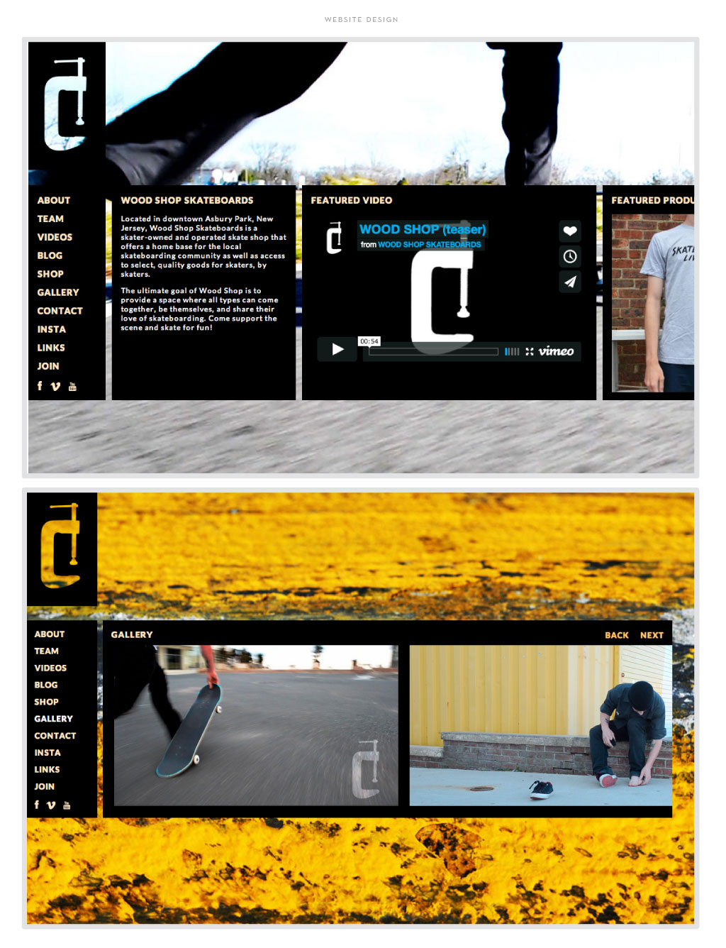 Wood Shop Skateboards web design by M studio