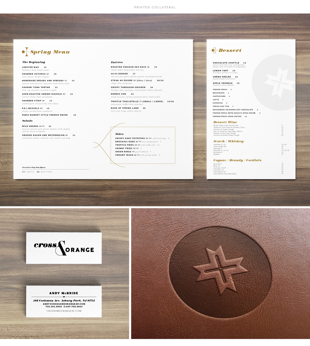 Cross & Orange menu and business card design by M studio