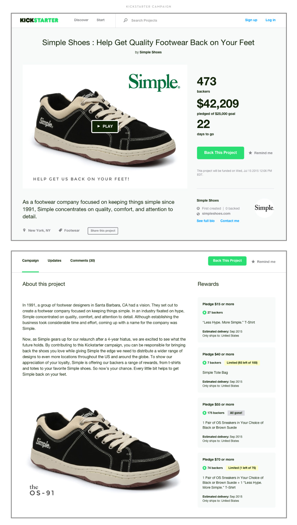 Simple Shoes Kickstarter Campaign by M studio