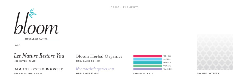 Bloom Herbal Organics graphic design by M studio