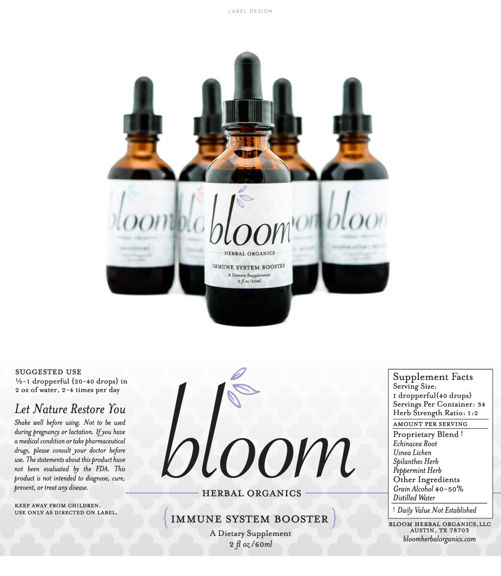 Bloom Herbal Organics label design by M studio
