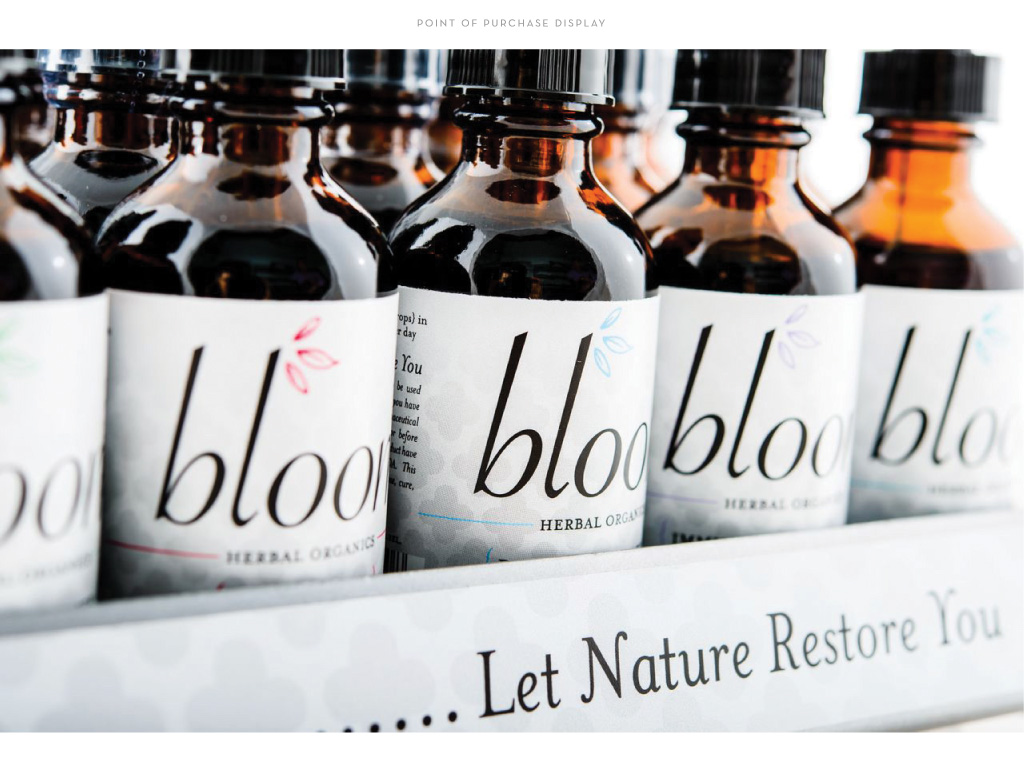 Bloom Herbal Organics point of purchase packaging display by M studio