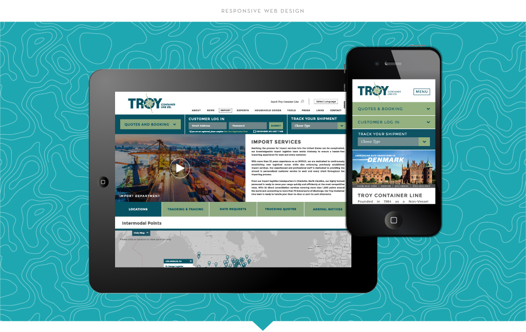 Troy Container Line responsive web design by M studio