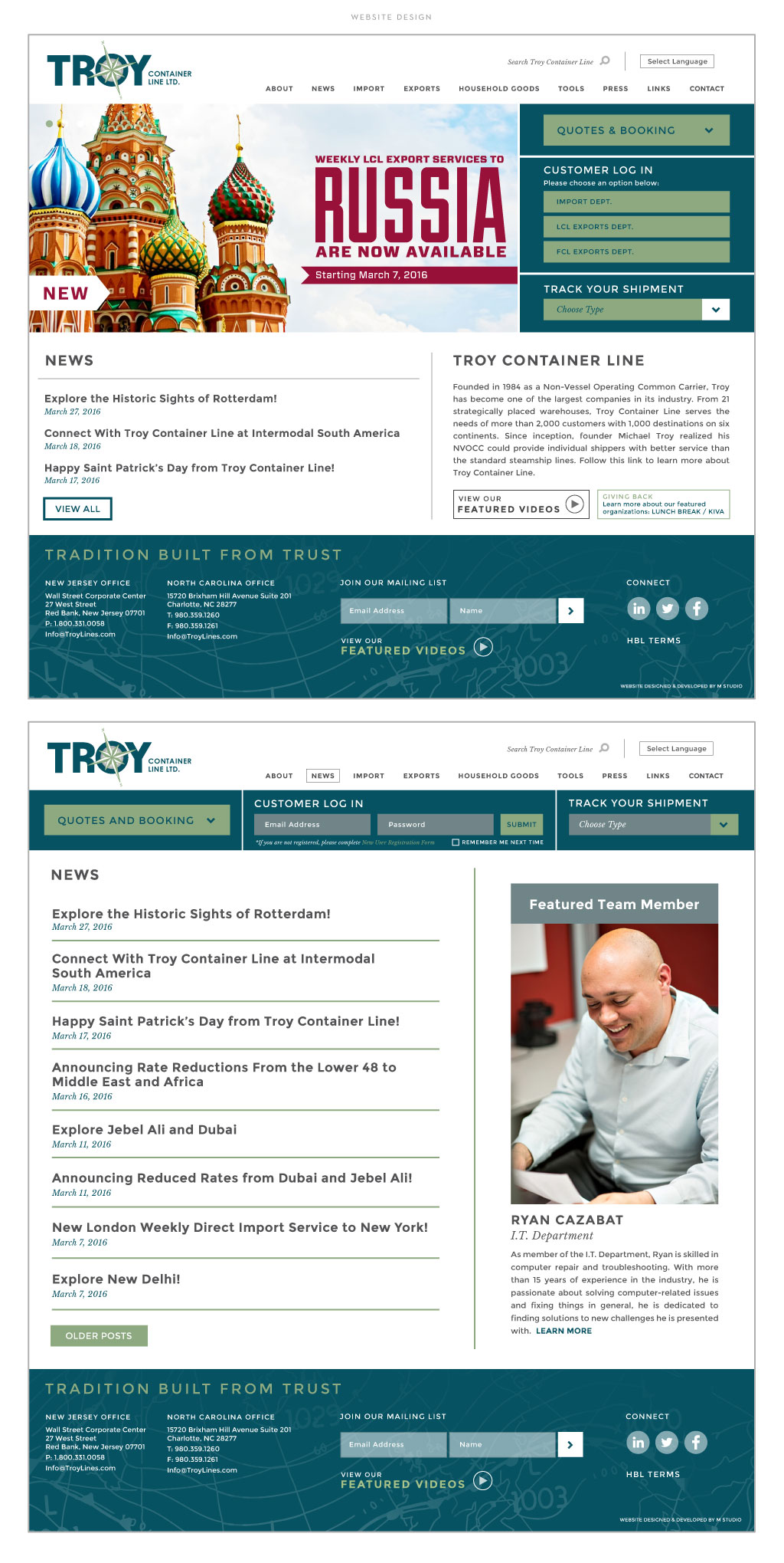 Troy Container Line web design by M studio